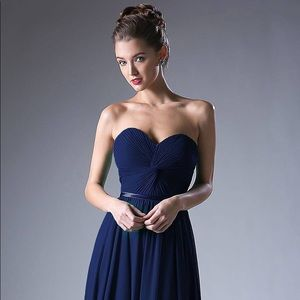 Cinderella Twist bodice chiffon dress | Navy | S